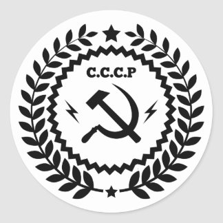 CCCP Hammer-u. Sichel-Abzeichen-Aufkleber Runder Aufkleber