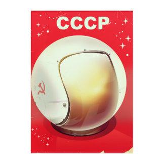CCCP Vintages rotes sowjetisches Raumplakat Acryl Wandkunst