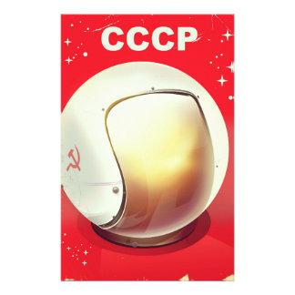 CCCP Vintages rotes sowjetisches Raumplakat Briefpapier