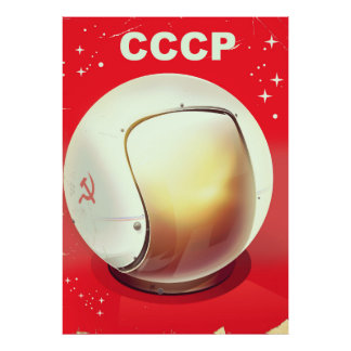 CCCP Vintages rotes sowjetisches Raumplakat Poster
