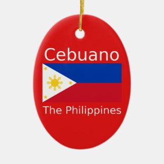 Cebuano Sprache und Philippinen-Flagge Keramik Ornament