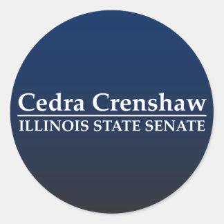 Cedra Crenshaw Illinois Staats-Senat Runde Aufkleber