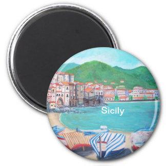 Cefalu, Sizilien-Magnet Runder Magnet 5,7 Cm