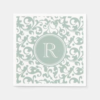 Celedon grüner eleganter Rolle-Damast mit Papierserviette