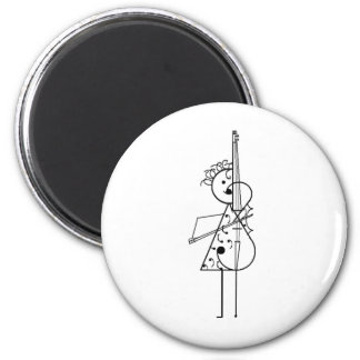 Cello-Mädchen Runder Magnet 5,1 Cm