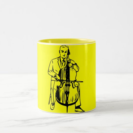 Cello man plays Bach Zweifarbige Tasse