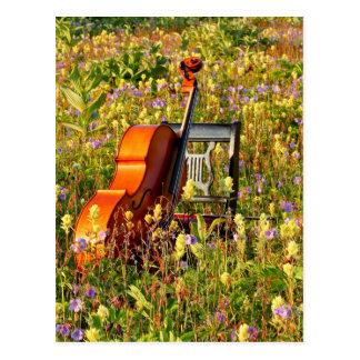 Cello mit Stuhl auf einem Gebiet der Wildblumen Postkarte