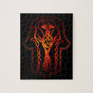 Celtic Hamsa Hand (orange/Rot) Puzzle