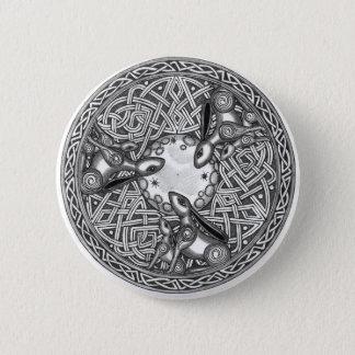 Celtic, Mond-aufpassender Hase Runder Button 5,7 Cm
