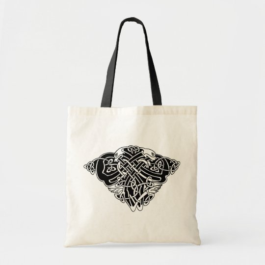 celtic pattern with animals - black and white tragetasche