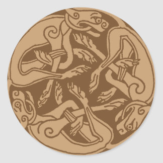 Celtic pattern with dogs - brown runder aufkleber