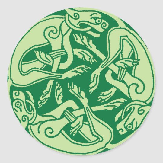 Celtic pattern with dogs - green runder aufkleber