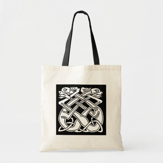 Celtic square pattern - black and white tragetasche