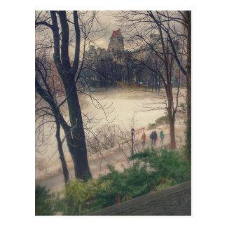 Central Park an einem warmen Tag des Winters Postkarte