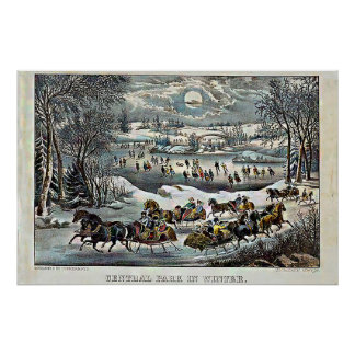 Central Park in Winter Currier u. Ives Poster