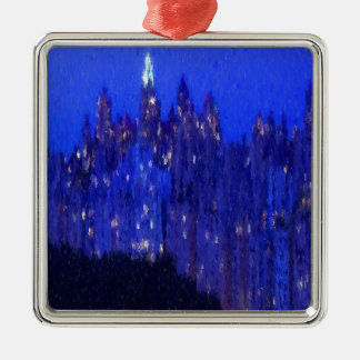 Central Park New York Silbernes Ornament
