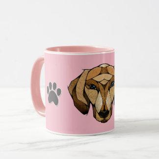 Ceramic Coffee Mug, 11oz, pink dashund polygon Tasse