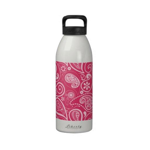 Cerise rosa Paisley; Mit Blumen Wiederverwendbare Wasserflasche