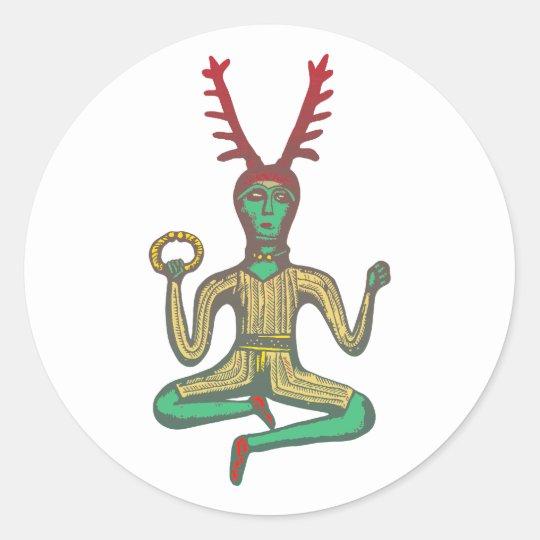 Cernunnos keltischer Gott celtic god Runder Aufkleber
