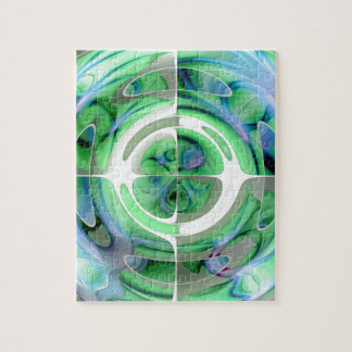 Cerulean Blau und Jade-abstrakte Collage Puzzle