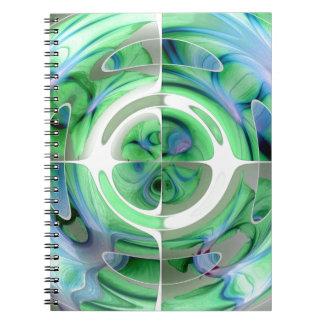 Cerulean Blau und Jade-abstrakte Collage Spiral Notizblock