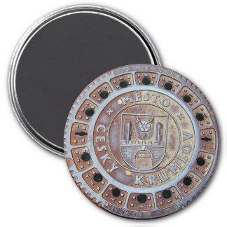Cesky Krumlov Abwasserkanal-Abdeckung Runder Magnet 7,6 Cm