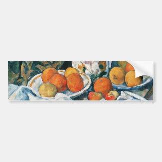 Cezanne Stillleben-Vorhang, geblühter Krug, Frucht Autoaufkleber