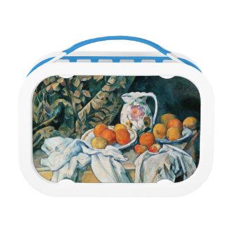 Cezanne Stillleben-Vorhang, geblühter Krug, Frucht Brotdose