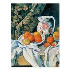 Cezanne Stillleben-Vorhang, geblühter Krug, Frucht Postkarte