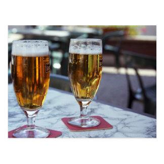 Chablis; zwei coole Biere bei 42 Grad heißen Postkarten