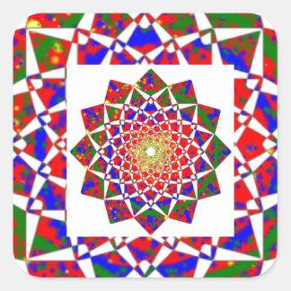 CHAKRA ANSICHT: Künstlerische geometrische Bildung Quadratischer Aufkleber