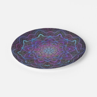 Chakra Blüte, boho, neues Zeitalter, geistig Pappteller