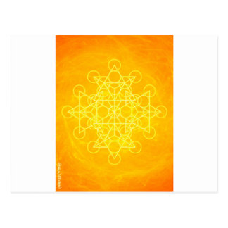 Chakra Mandala-heilige Geometrie-helles Gelb Postkarte