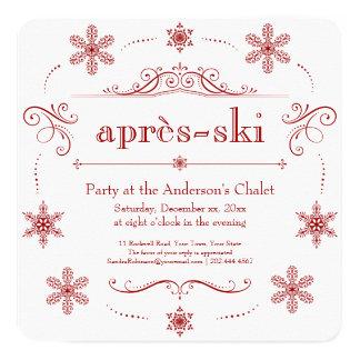 Chalet-Winter-Feiertag Party-oder Après-Ski Quadratische 13,3 Cm Einladungskarte