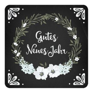 Chalkboard Floral Wreath Happy New Year German Quadratische 13,3 Cm Einladungskarte