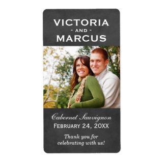 Chalkboard Wedding Photo Wine Bottle Favor Labels Großer Adressaufkleber