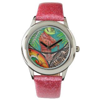 Chamäleon-Kunst-Zeichnen Armbanduhr