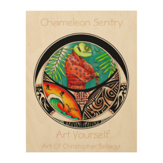Chamäleon-Kunst-Zeichnen Holzdruck