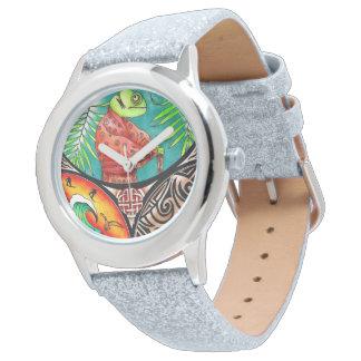 Chamäleon-Kunst-Zeichnen Uhr