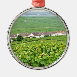 Champagne Ardennelandschaft, Frankreich Silbernes Ornament