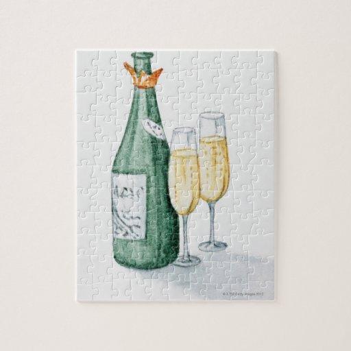 champagne flaschen und zwei gl ser puzzle zazzle. Black Bedroom Furniture Sets. Home Design Ideas