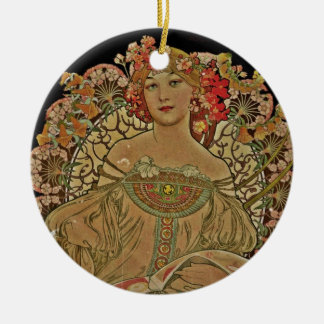 Champagne-Frau auf Schwarzem Keramik Ornament