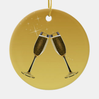 Champagne-Glas-Feier auf Gold Keramik Ornament