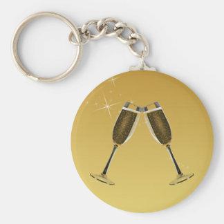 Champagne-Glas-Feier auf Gold Schlüsselanhänger