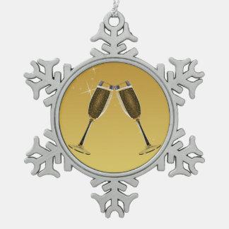 Champagne-Glas-Feier auf Gold Schneeflocken Zinn-Ornament