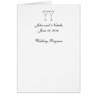 """""""Champagne-Glas-"""" Hochzeits-Programm Karte"""