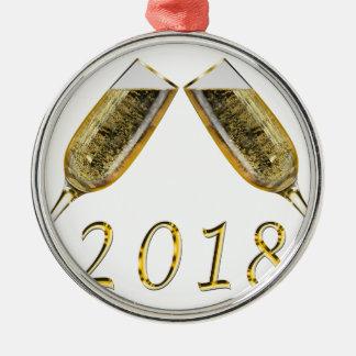 Champagne-Gläser 2018 Silbernes Ornament