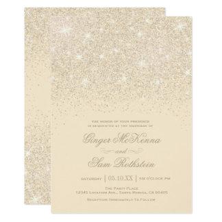 Champagne-Glitter-Hochzeits-Einladungen Karte