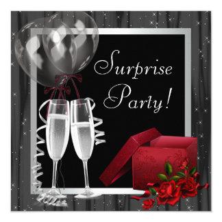 Champagne-Glitzern-Schwarz-weißes Quadratische 13,3 Cm Einladungskarte