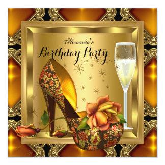 Champagne-Goldbernsteinfarbiger Heels-elegantes Quadratische 13,3 Cm Einladungskarte
